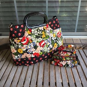Vera Bradley Black Floral Tote & Cosmetic Bag